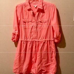 Neon Orange GAP Preppy Drawstring Dress - Size M